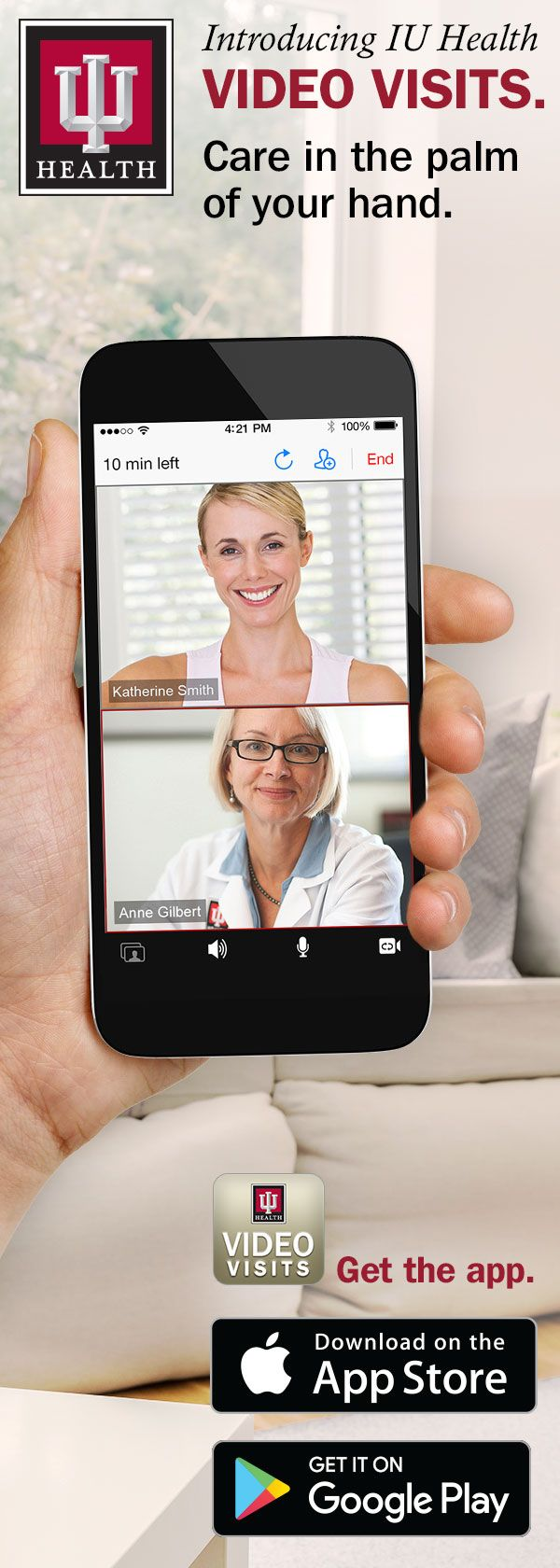 IU Health Video Visits offers convenient access to highly-skilled experts from your smartphone, tablet or computer, 8 am to 8 pm every day. Download the app and see a provider today.