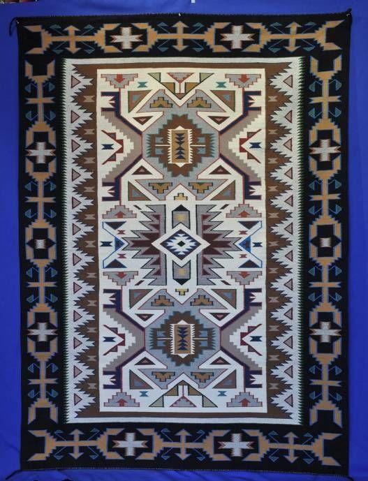Very Fine Navajo Rug Teec Nos Pos Weaving Wool Authentic C 1995