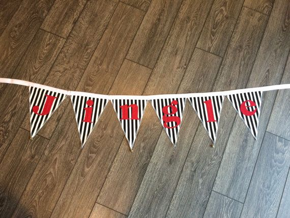 JINGLE fabric banner black and white flags with by GramsCozyCorner