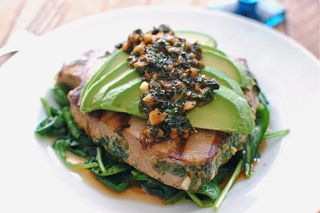 Grilled Citrus Tuna Steak with Avocado and Spinach | Recipe