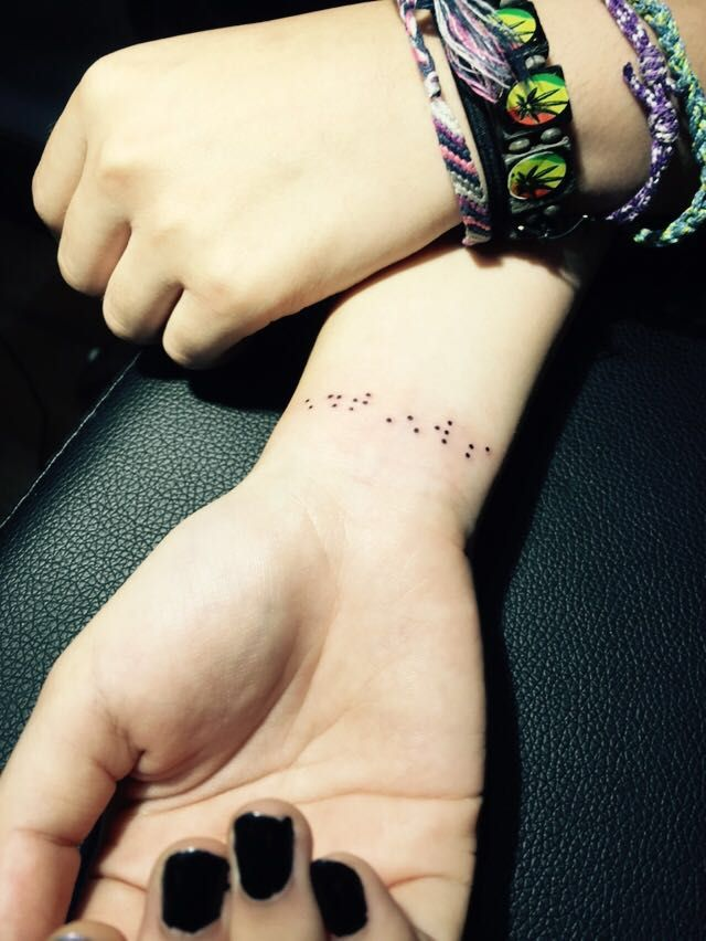 Braille tattoo by Artist Su. Kindly contact Su for appointments  at exotic@exotictattoopiercing.com.  https://www.facebook.com/Exotic-Tattoos-and-Piercings-418666600080/timeline?ref=page_internal http://exoticpiercing.tattoo/johnny2thumbs.html  https://www.pinterest.com/sutattoo/ Singapore tattoo studio , Orchard Road, Singapore female tattoo artist, Johnny Two Thumbs Family Tattoo Studio.