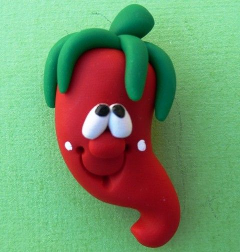 Polymer Clay Fridge Magnet HOT PEPPER por ClayCutiesbySabrina