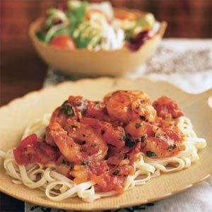 Shrimp Arrabbiata-343 calories  Arrabbiata is a spicy tomato-and-red-pepper sauce that originated in Rome. The easy sauce (you can make a double or triple batch and freeze the extra) can top scallops, chicken, pork or your favorite veggies over pasta for a simple meal anytime.