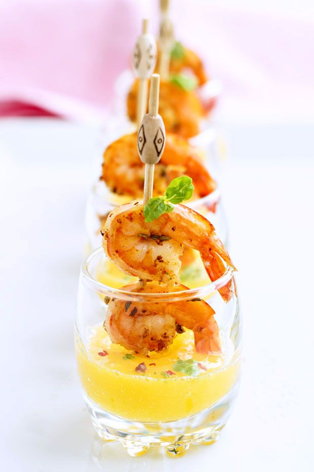 Here's an awesome, elegant appetizer inspired by Spanish Cuisine. These grilled shrimp and mango puree shooters are easily prepared ahead and chilled, making them perfect Spring, Summer and anytime...