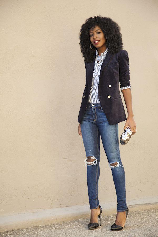 Velvet Blazer + Striped Shirt + Ripped Jeans