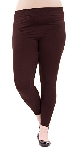 #Brown Ladies Plus Fleece Leggings. These plus-size fleece leggings feature a long length, a banded waistline, a soft comfortable feel, and will keep you warm wh...