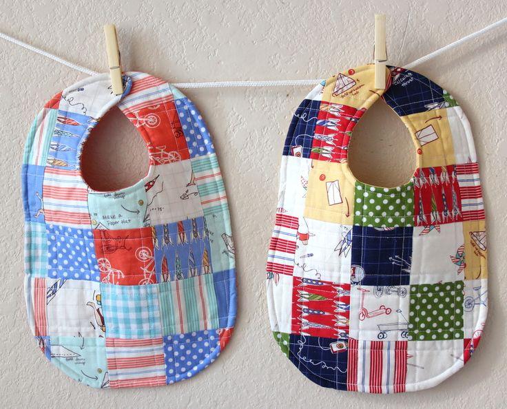 Patchwork baby bibs! @Kalle Hatcher LeMone Thompson maybe for leftover fabric?