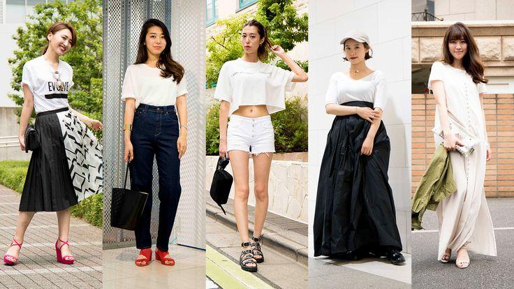 カジュアルからフェミニンまで、人気ブランド別/白Tシャツの着こなしスナップ5選