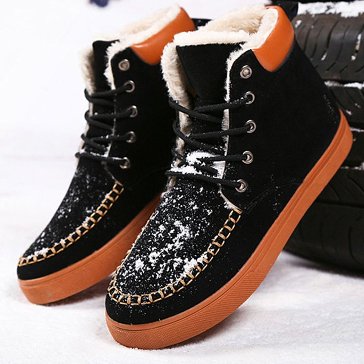 New Arrival Men's Boots Fashion Flat Winter Snow Boots Thick Plush Ankle Boots For Man Warm Casual Winter Shoes Botas
