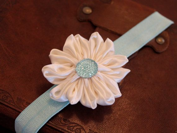 Light Aqua Mint Blue Ivory Flower Headband..Newborn by ElianasCove, $10.00