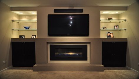 remodel outdated built in entertainment center gas fireplace - Google Search