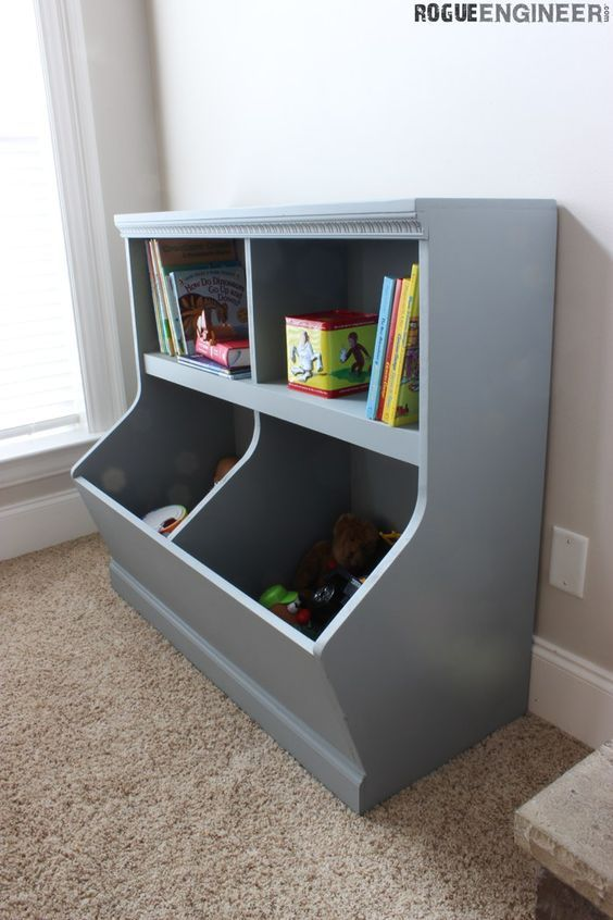 Bookcase with Toy Storage  - Free & Easy Plans | rogueengineer.com #BookcasewithToyStorage #BabyChildDIYPlans