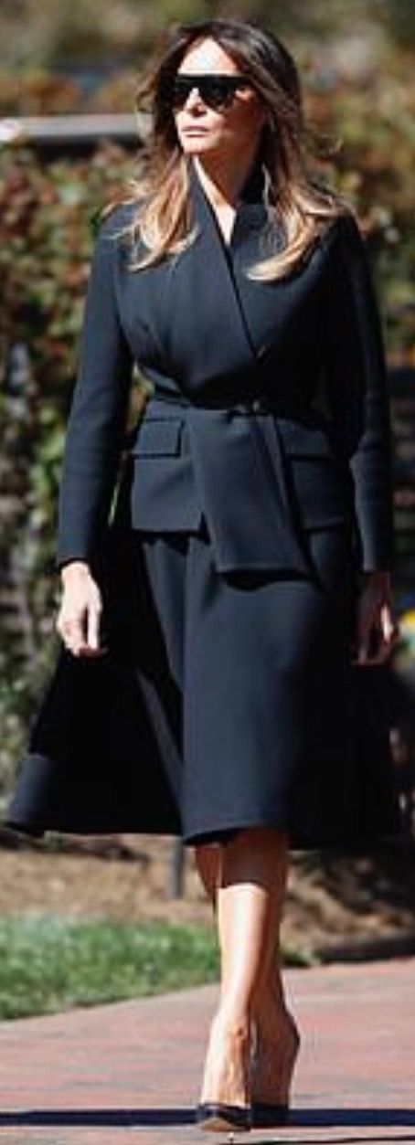 First Lady Melania Trump arrives to Reverend Billy Graham's funeral, 3/2/18 (AP)