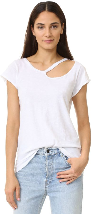 Classic tee available in white or black. LNA Ripped Neck Tee