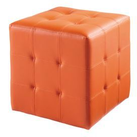"""Chic midcentury-inspired ottoman with a tufted design.      Product: OttomanConstruction Material: Faux leather and woodColor: OrangeFeatures: Tufted designDimensions: 16.5"""" H x 16.5"""" W x 16.5"""" D"""