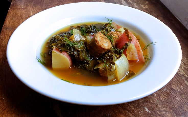 Tipicular Fixin's Whisky Sour Soup with Sausage, Kale and Potato 3 medium links Italian Sausage 1 lg onion, chopped 2 lg cloves garlic 1 tsp chili flake* 1 tsp fennel seed* 3 medium potatoes, cubed 1 bunch kale, chopped 1 Whisky sour (recipe below) 8 C chicken stock, no salt S&P to taste  *optional