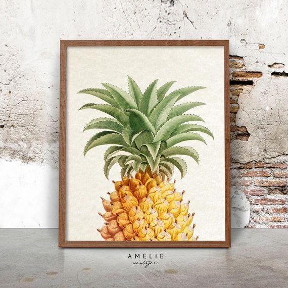 Ananas Print, Vintage botanische Wall Art, afdrukbare digitale Download, Decor van het huis, Franse countrystijl, Shabby Chic, Cottage, keuken Art