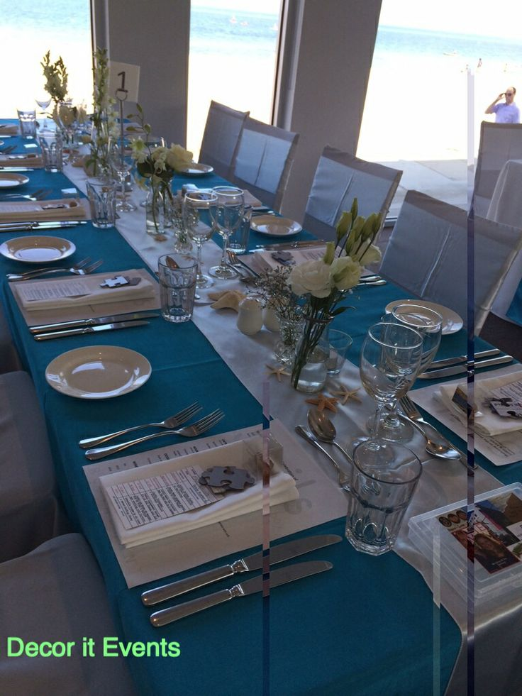 Aqua linen beach wedding #beach #wedding #inspiration #decoration #beachwedding #weddingday #weddingreceptiondecorations #melbournebeaches #melbourne #melbourneweddings    www.decorit.com.au (2)