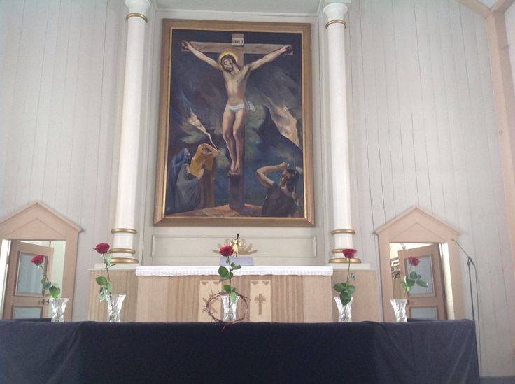 Church of Soini, Finland.  Good Friday 2015. Jesus crucified.