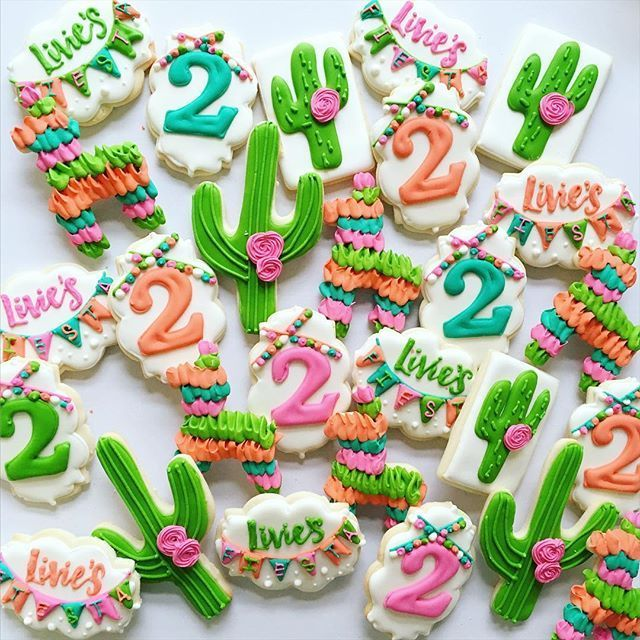 happy 2nd | fiesta themed. ☀️ #decoratedcookies #customcookies #sugarcookies #royalicing #birthdaycookies #cookies #fiestacookies #cactus #pinata #fiesta #birthday #orangecounty