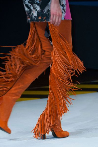 Just Cavalli at Milan Fall 2014 (Details)***Tall over the knee high heel fringe boots, rust orange  Fashion Winter