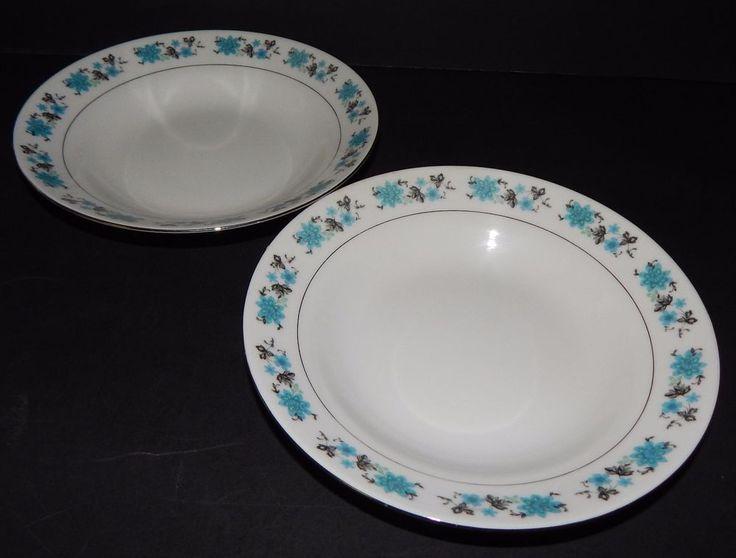2 Vintage SOUP BOWLS Fine China Pattern Blue Grey Black Flowers Silver Rim   #StampedonBottom