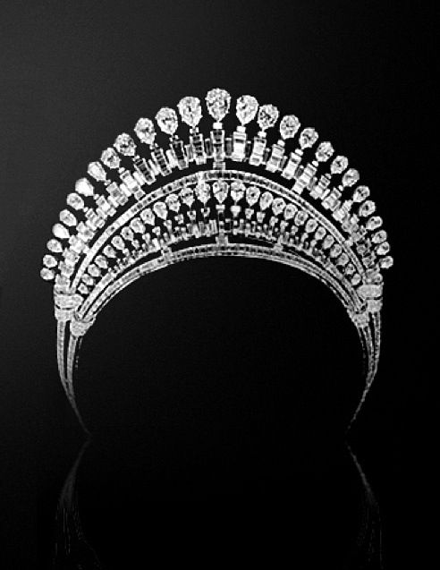 This is Princess Fawzia's Tiara. Her parents, King Fuad I of Egypt and Queen Nazli, commissioned it from Van Cleef & Arpels for Fawzia's 1939 wedding to Mohammad Reza Pahlavi, the Crown Prince (and later Shah) of Iran. The tiara features pear-shaped and baguette-cut diamonds in multiple rows arranged to look like a halo.