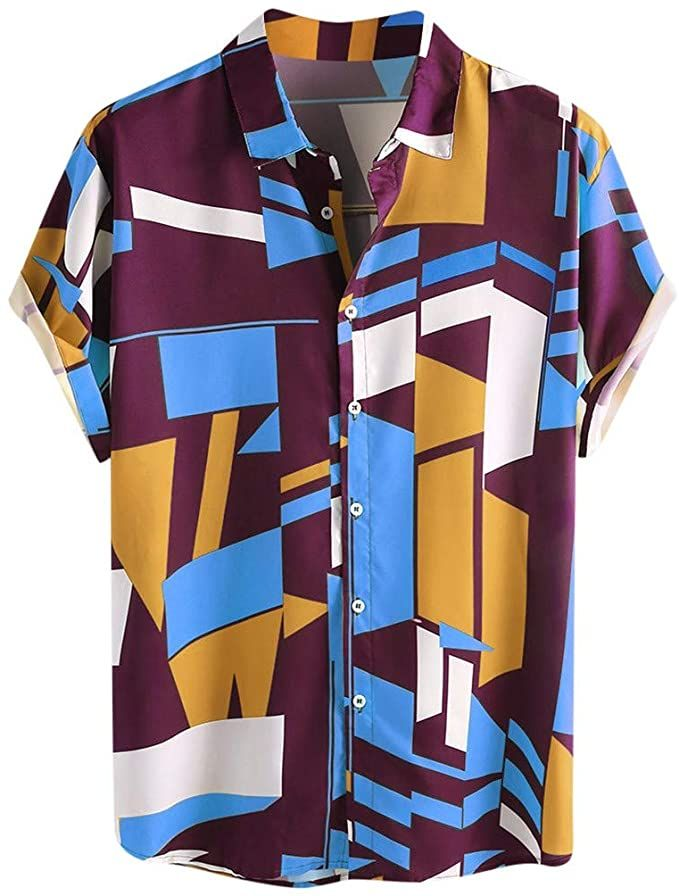 Mens Shirts Casual Short Sleeve Button Down Shirts Colorful Printed Round Hem Shirts with Pocket