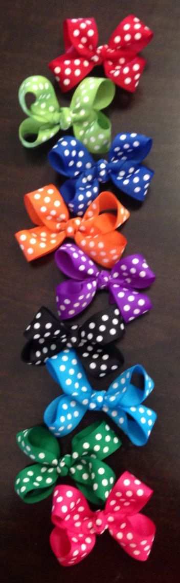 Polka Dots, Hair Bow Lot, Infant Hair Bow, Toddler Hair Bows, Hair Bows, Girls Hair Bows, Boutique Hair Bow, Pig Tails, Colorful Hair Bows on Etsy, $15.00