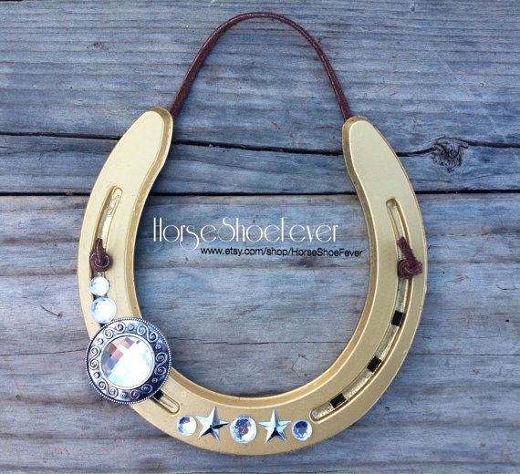 $19.99 © Gold Cowboy Decorative Horseshoe.  By HorseShoeFever. Wedding, Rustic, Birthday, Country, Western, Barn, Stables, Handcrafted, Horseshoes, Horse, Christmas, Housewarming Gift, Ranch, Cabin,