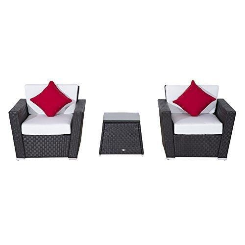 Outsunny 3 Piece Outdoor Rattan Patio Furniture Set with Cushions