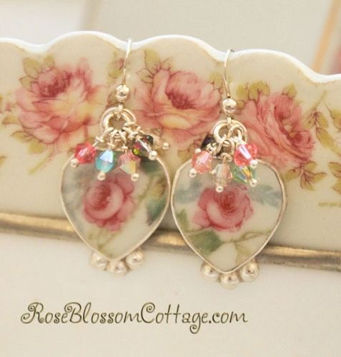 Antique Broken China Jewelry Shabby Rose Pink Crystal Earrings