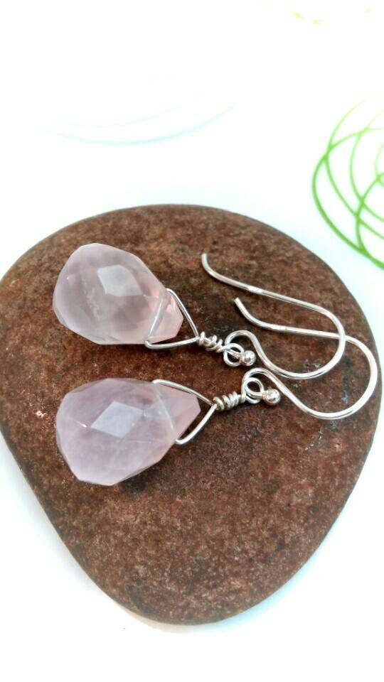 Rose quartz earrings  rose quartz briolette earrings  wire