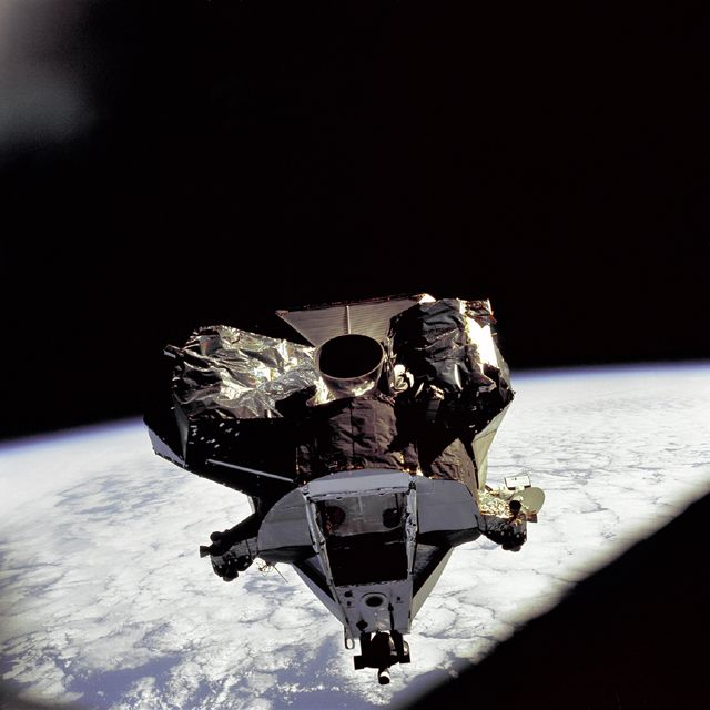Apollo 9 Shot from Earth orbit. Lunar Module 'Spider' ascent stage during rendezvous & docking approach.