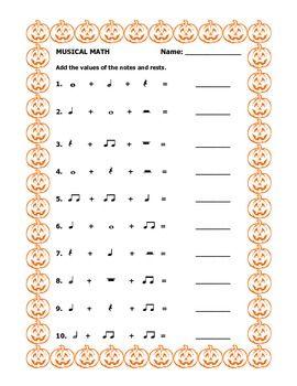Musical Math - Halloween worksheet