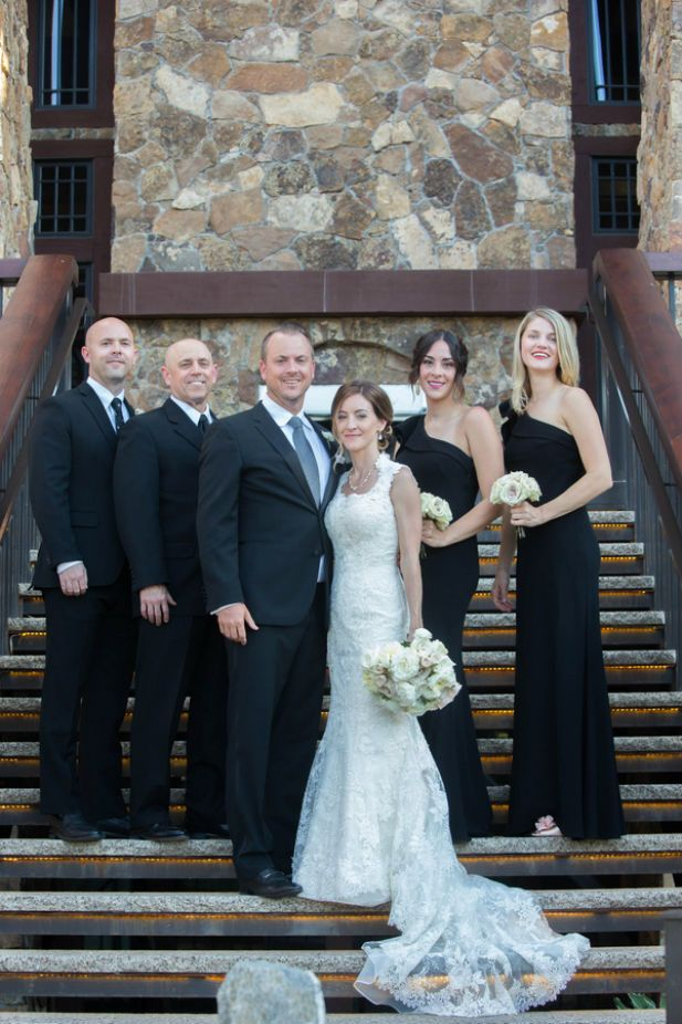 Traditional black and white wedding party