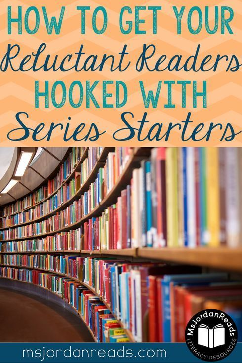 A blog post sharing a collection of series books to hook reluctant readers. The collection includes a variety of engaging books and novels to motivate young readers to fall in love with reading.