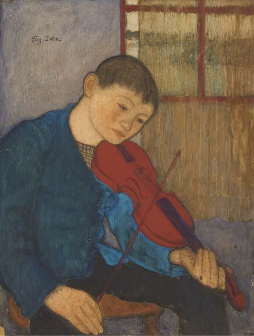 """Boy with a Violin"" by Eugeniusz Zak (Polish-Jewish painter,1884 - 1926), pastel on cardboard, 63 x 48 cm, private collection"
