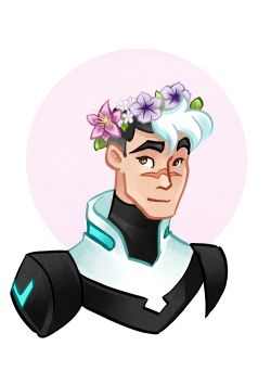 Voltron characters with flower crowns. Shiro.