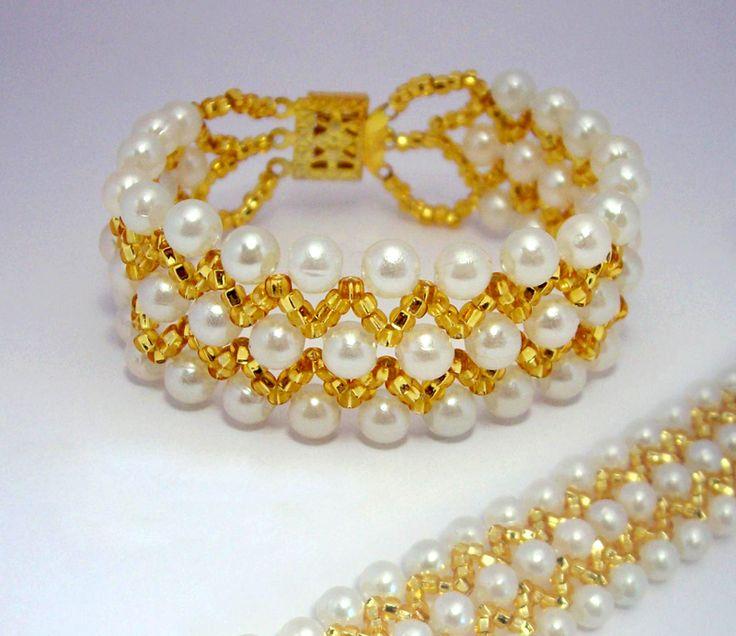 free pattern for beautiful beaded pearl bracelet france - Beaded Bracelet Design Ideas