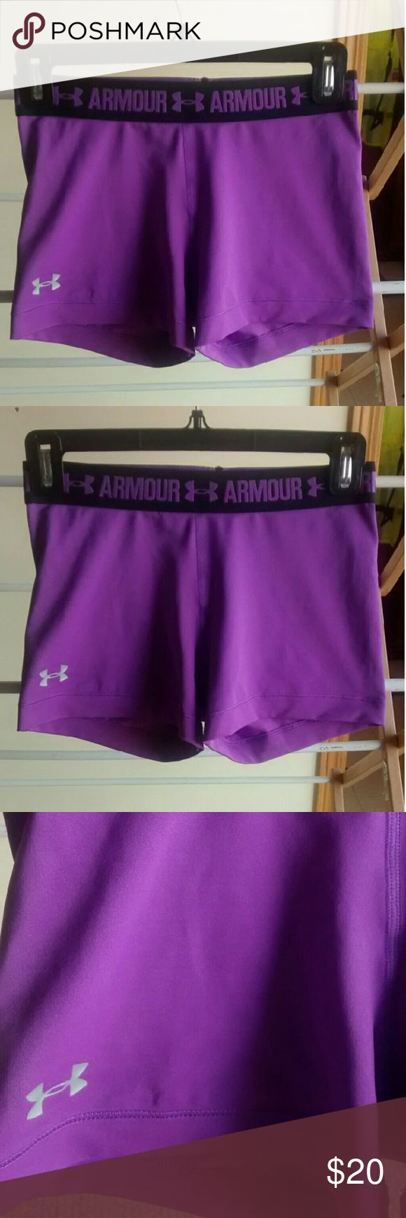 Purple Athletic Shorts ? Purple  ? Under Armour  ? Athletic Wear  ? Adult Women's Small  ? Is not stretched out  ? Elastic Band Under Armour Shorts