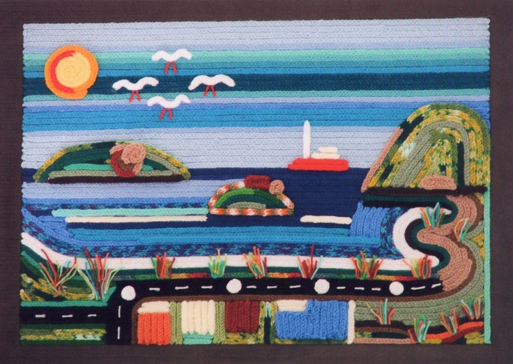 """""""Victor Harbor"""" (South Australia) - sea and landscape - french knitting glued on board, framed."""