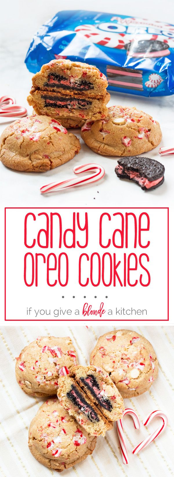 Adding this to the Christmas cookie swap — peppermint Oreo cookies with candy cane bits! | www.ifyougiveablondeakitchen.com