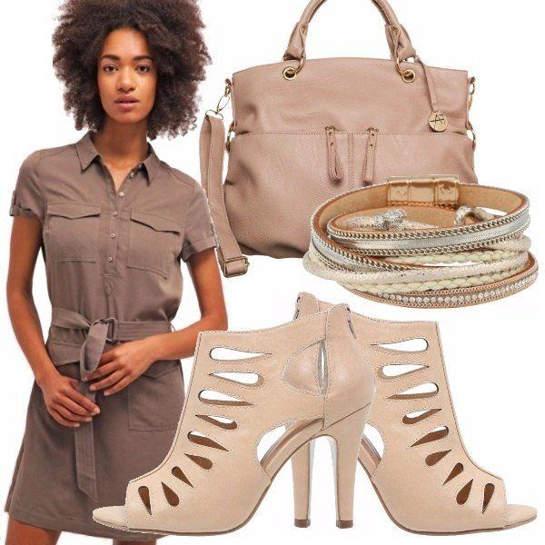 Outfit estivo composto da abitino color fango con abbottonatura a camicia e cinta abbinato con borsa e scarpe color rosa antico. Un outfit pratico per la spesa, per l'ufficio, per l'università.