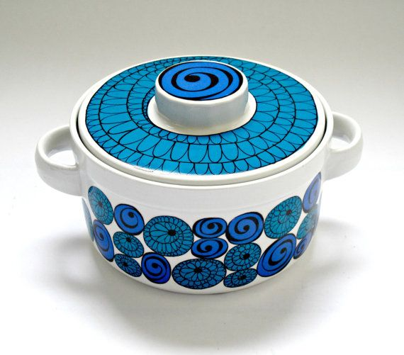 Kirsten Dekor for Figgjo Flint Scandinavian Mid Century Casserole Pot - Made in Norway, Saturn Design