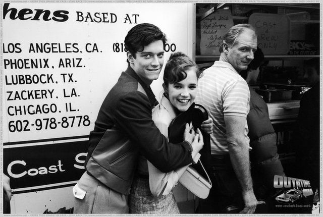 Eric Stoltz (Marty McFly) and Lea Thompson (Lorraine Baines) Playing Around From 45 Behind-the-Scenes Back to the Future images.
