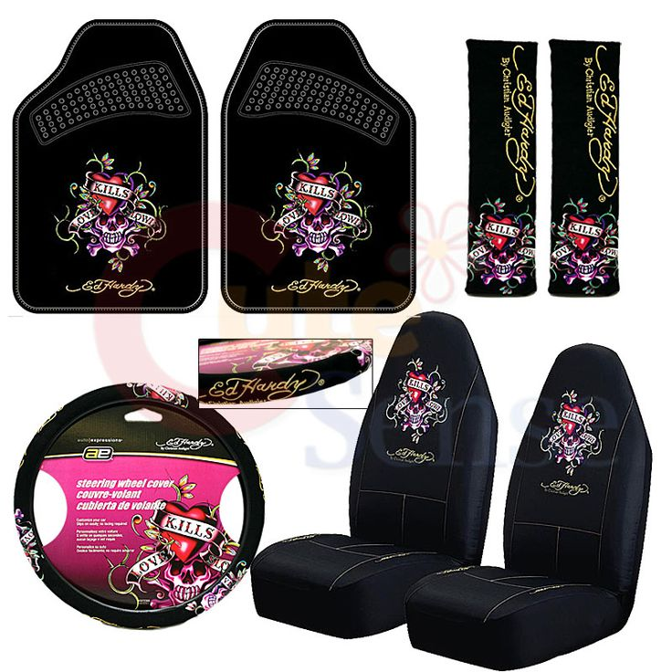 Ed Hardy Love Kill 7pc Car Seat Covers Accessories Set