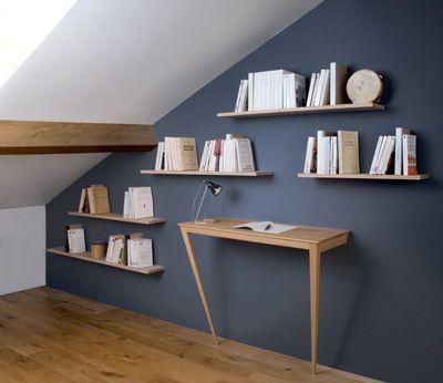 biblioth que sous pente dans des combles am nag es d coration int rieure pinterest. Black Bedroom Furniture Sets. Home Design Ideas