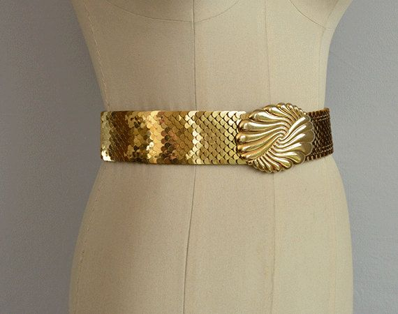 Vintage 70s Gold Stretch Belt / 1970s Wide Metallic by zestvintage