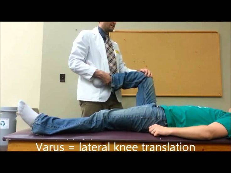 McMurray's Test looks for either medial or lateral meniscus tear by applying either a valgus (medial) or varus (lateral) pressure.